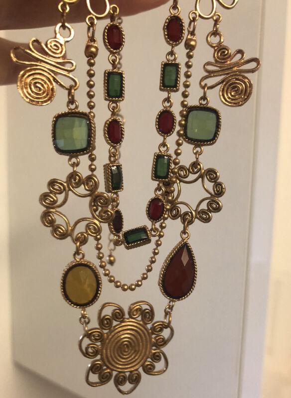 Vintage Jewellery Super intricate Festoon Bezel Set Necklace