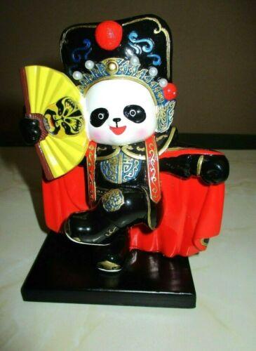 "Blk/Wht Panda w/Decorative Details,Chinese Folk Art Costume, Desktop Art, 4""x5"""