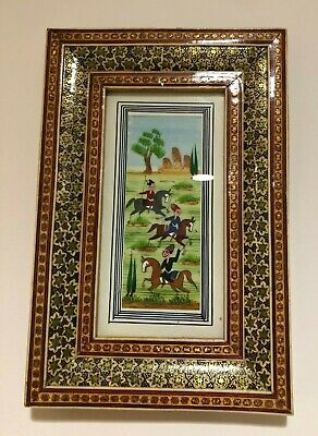 "Persian Khatam Inlaid Frame Miniature Hand Paint Micro Mosaic Marquetry 9""X6"""