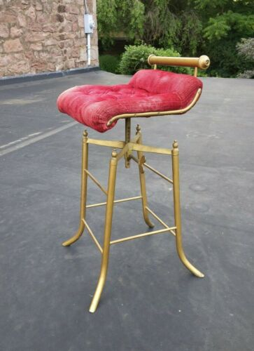 Late 19th C. Victorian Cast & Tubular Brass C.H. Hare Simplex Music Cello Stool