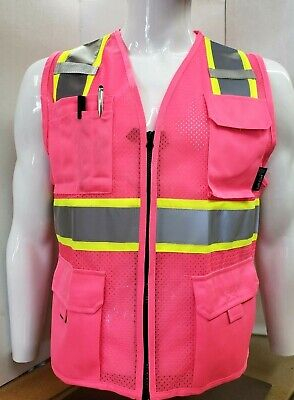 Pink Safety Vest Fitted High Visibility Size Small - 5xl