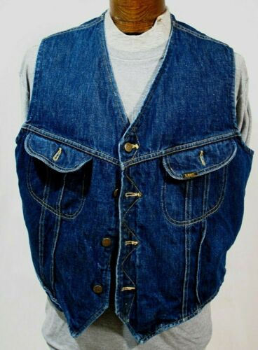 Vtg Lee Storm Rider Mens Shearling Lined Jean Jacket Vest SZ XL Made USA