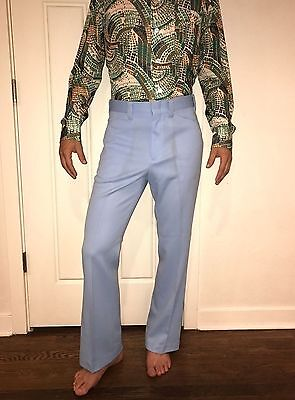 NEW Vtg 70s Mens 40 32 Light Blue MAVERICK Polyester DISCO Flare Leg Suit pants