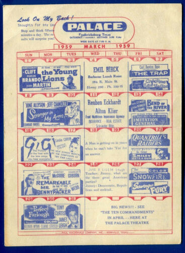 Fredericksburg, Texas Movie Flyer 87 Drive-in Palace Theater March 1959