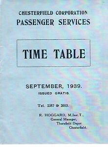 1939 Chesterfield Corporation Passenger Services Bus Timetable Clay Cross