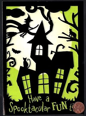 Halloween Cats Kittens Witch Haunted House Bats Spooky Tree - Greeting Card NEW](Animated Halloween Greetings)