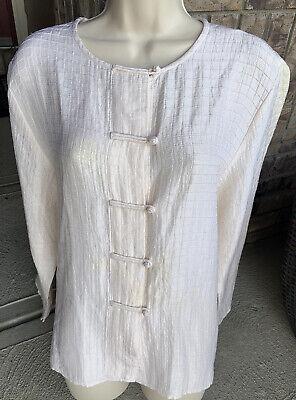 Eileen Fisher Women's L Asian Silk/Linen Jacket Cream