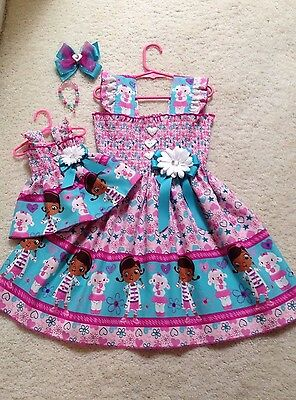 New Handmade Doc McStuffins #2 Dress Toddler/Girls (2T-9/10) HairBow,Doll Dress  (Doc Mcstuffins Mädchen Kleider)