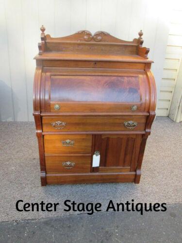 53071 Antique Victorian Walnut Cylinder Desk
