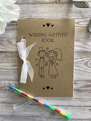 Childrens A6 WEDDING ACTIVITY BOOK Ideal Gift Favour Bag Vintage Brown Pack