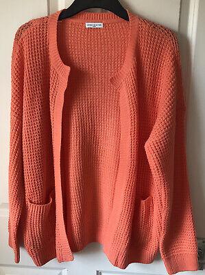 Ladies Waffle Knit Cardigan Size 14 (Large) Orange/Coral. Jacqueline de Yong