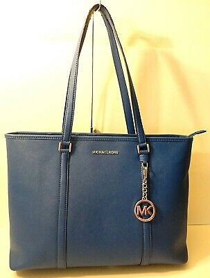 Michael Kors Blue Saffiano Leather Tote Office Shoulder Bag Purse MK Tag Charm