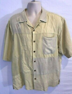 Tommy Bahama Mens L Large Silk Linen Blend Yellow Patch Work Camp Shirt Hawaii Patchwork Camp Shirt