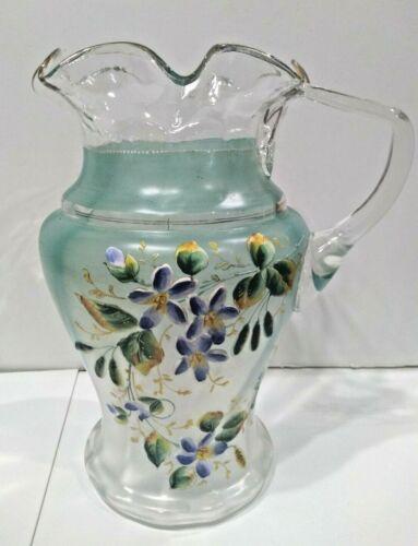 Antique Victorian Floral Flower Enameled Lemonade / Water Clear Glass Pitcher
