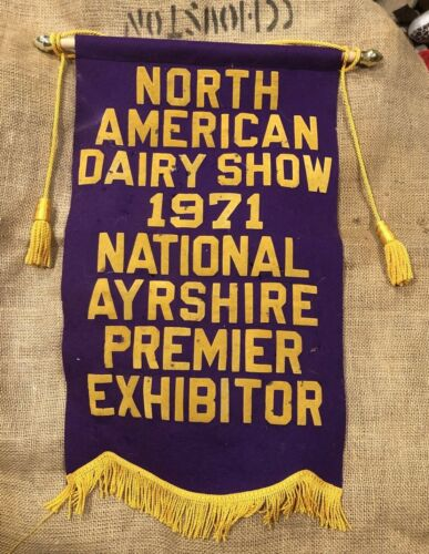 Ayrshire Cow Vintage Banner 1971 North American Dairy Show  Premier Exhibitor