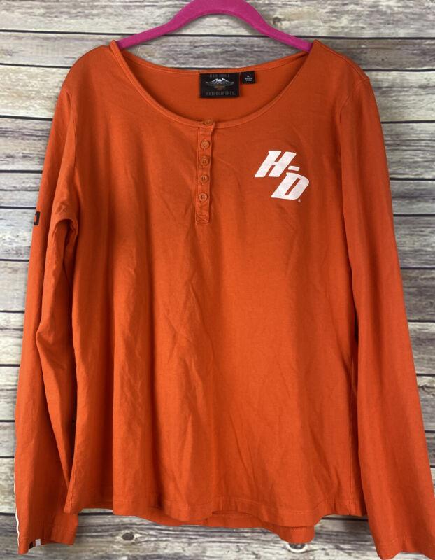 Harley Davidson Women's Long Sleeve Shirt, Size XL, Orange Preowned