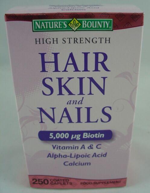 Nature\'s Bounty Hair Skin and Nails 5000 Mcg of Biotin 250 Coated ...