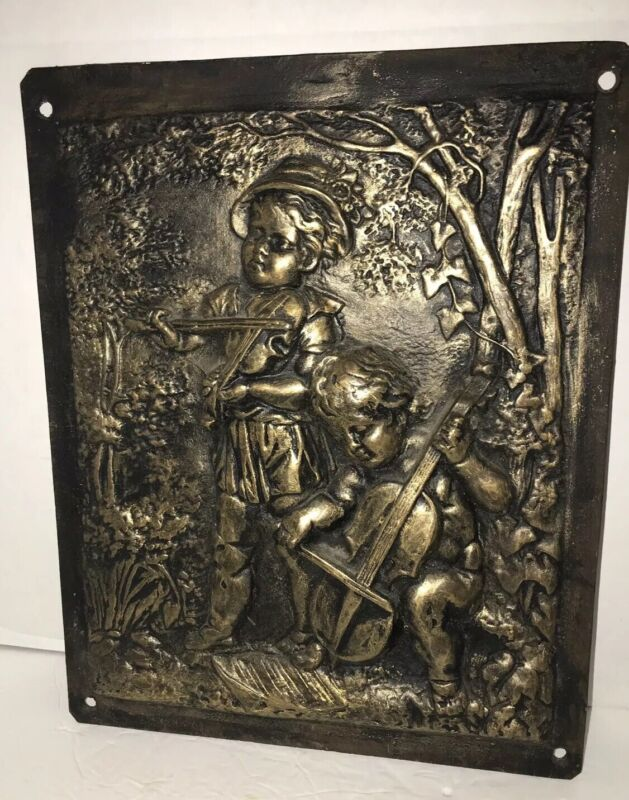 Antique CHERUB CAST IRON CHERUB PLAQUE Architectural Fireplace Wood Stove Door