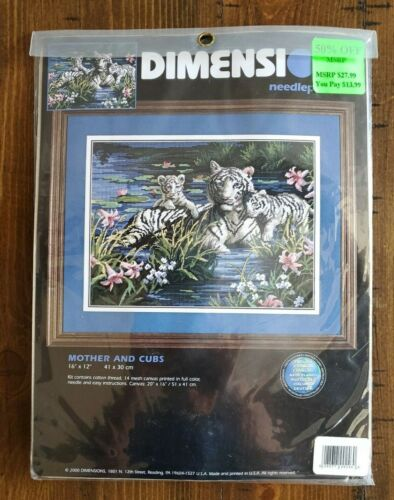 """Dimensions Needlepoint Kit Mother & Cubs #2489 Tigers Cats Kittens NEW 16""""x12"""""""
