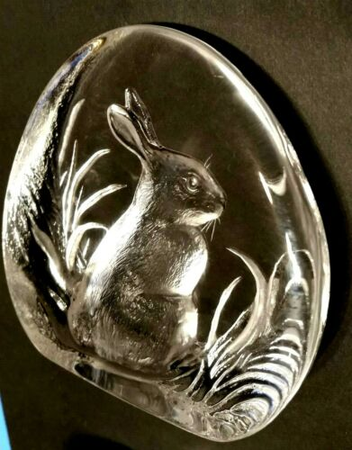Mats Jonasson Rabbit Paperweight Signature Collection Clear Crystal Glass