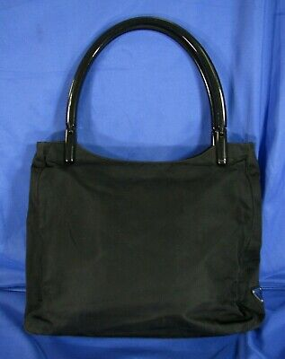 PRADA Vintage BLACK NYLON PURSE TOTE BAG Plastic Handle TESSUTO Shoulder SATCHEL