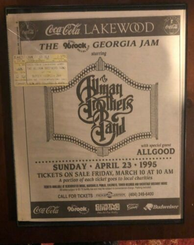 allman brothers ad poster and ticket lakewood ampitheater  comes framed