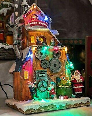 Christmas Village Santa Elves Toy Shop Animated LED Lights Music Carole Towne