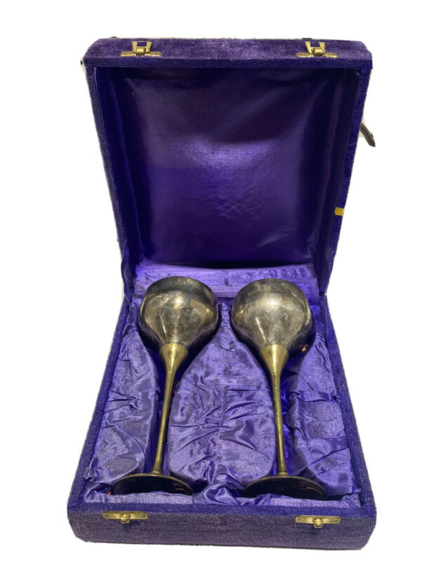 Vintage 1970s Brass Goblet Chalice India Purple Blue Velvet Case