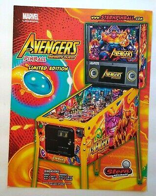 Avengers Infinity Quest Limited Edition Pinball FLYER Marvel Comic Superhero Art