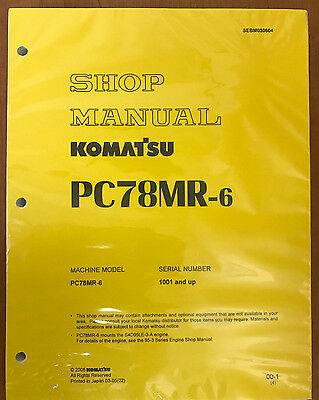 Komatsu Service Pc78mr-6 Excavator Shop Repair Manual
