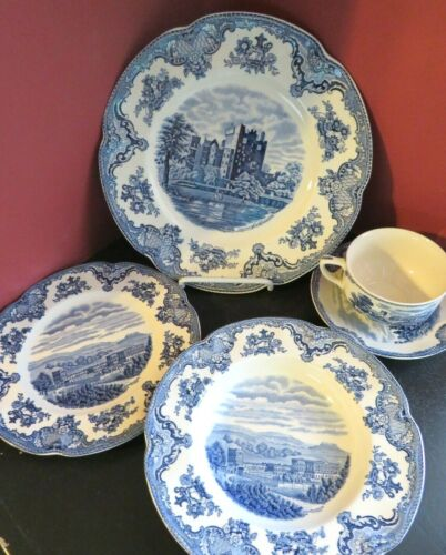 16pc Johnson Brother Old Britain Castle Blue ENGLAND 8plate 4bowl 2cup 2saucer