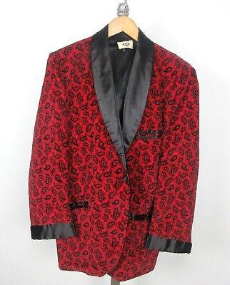 Velvet Paisley Smoking Dinner Jacket Sz M Satin Shawl Collar Red Black - Red Smoking Jacket
