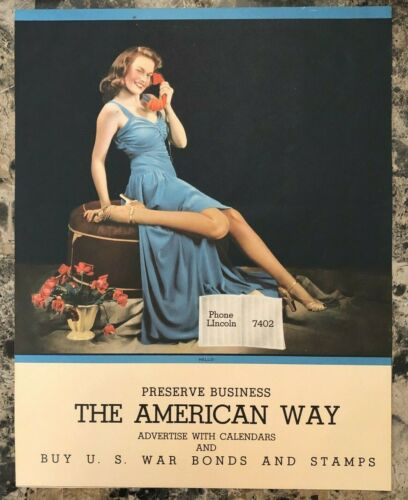 Vintage The American Way WWII US War Bonds Calendar Picture Sexy Lady 11x14