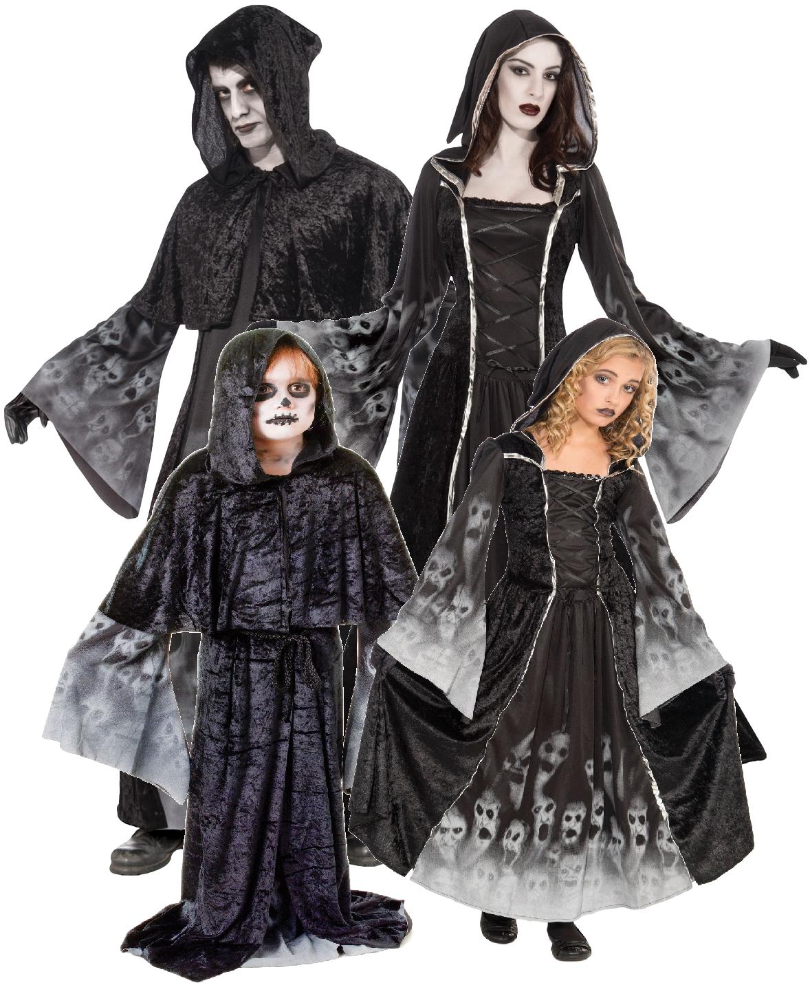 Halloween Gruppo.Dettagli Su Famiglia Uomo Donna Bambini Mietitore Halloween Gruppo Costume Vestito
