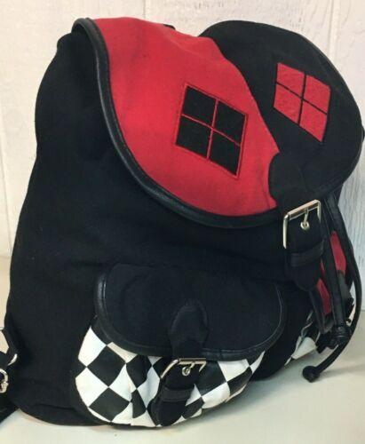 DC Comics Originals Harley Quinn Backpack School Work Carry Bag Black White Red