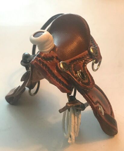 """Brown Leather Hanging Saddle Decorations,  2 3/4"""""""