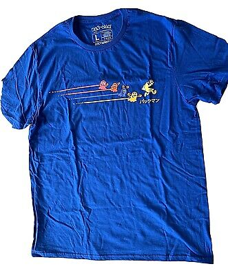Pac-Man Men's Size LARGE Blue T Shirt - LootCrate Exclusive - New FREE SHIPPING