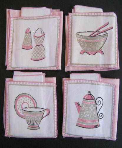 4 Vtg Linen Placemats Matching Pocket Napkins 50