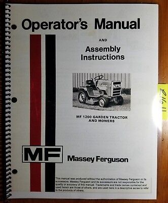 Massey Ferguson Mf 1200 Garden Tractor Mower Operator Manual 1448 408 M2 877