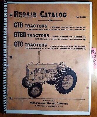 Minneapolis-moline G Gtb Gtbd Gtc Tractor Repair Parts Catalog Manual R-1108b