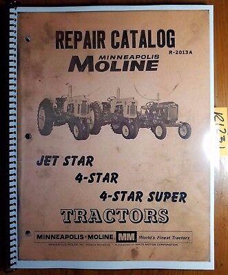 Minneapolis-moline Jet Star 4 Star Super Tractor Repair Parts Catalog Manual