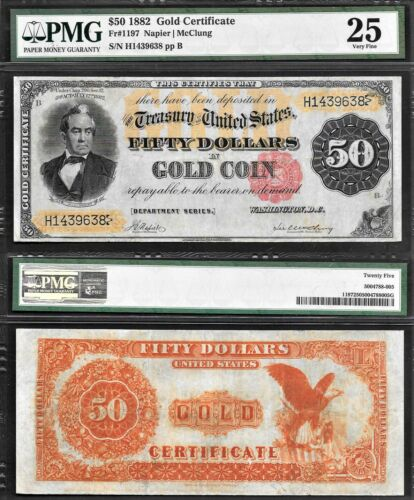 $50 1882 GOLD CERTIFICATE PMG CHOICE VF-25 FR#1197 <STUNNING NOTE<