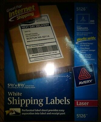 Avery Trueblock White Laser Shipping Labels 200 Internet 5126 5 12 X 8 12