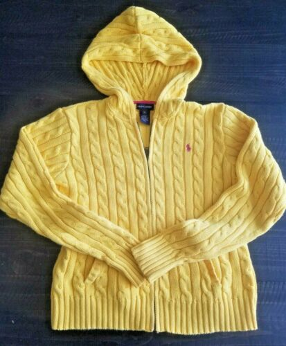 Ralph Lauren Polo Child XL Cable Knit Zipper Hooded Sweater Yellow