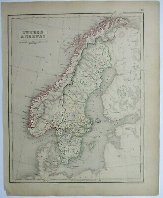 Antique Map of Sweden & Norway by William & Robert Chambers 1845