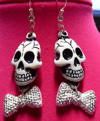 SUGAR SKULL SCARY EARRING Fun HALLOWEEN Bling Tie 925 hooks Nora's USA - Scary Sugar Skull