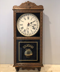 """Antique 38"""" Early 20 Th Century New Haven Storefront Calendar Wall Clock CA-1918"""