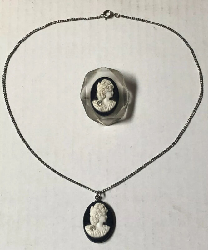 Cameo White Black on Clear Lucite Brooch Pin and Necklace with Pendant