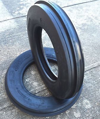 Two 4.00-19 400-19 F-2 Tri 3 Rib Front Tractor Tire Ford Cropmaster 4ply Tubetyp