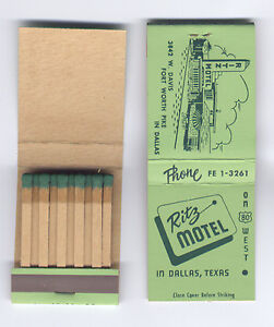 Ritz-Motel-Hwy-80-West-Oak-Cliff-Dallas-Texas-1950s-Matchbook-Green-Matches-MINT